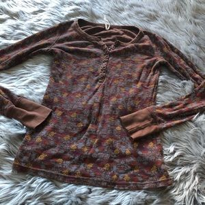Free people thermal long sleeve shirt button up